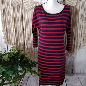 Express Blue Red Striped Fitted T-Shirt Dress L